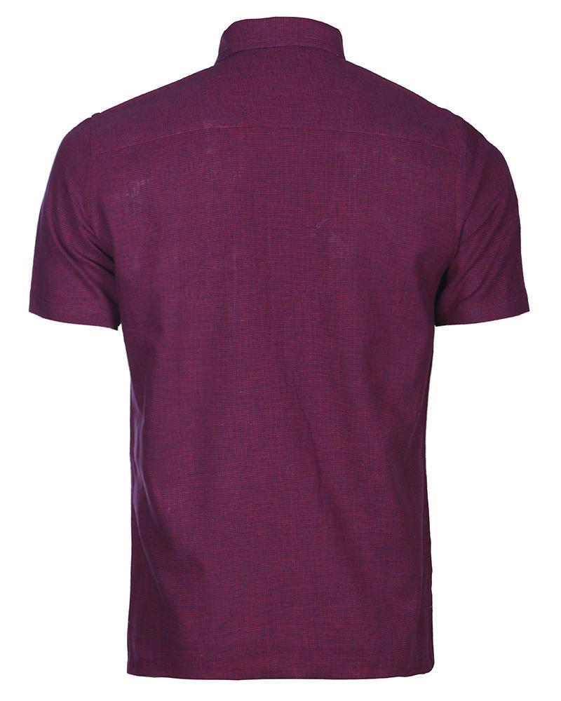 Linen Casual Short Sleeve Shirt - Maroon