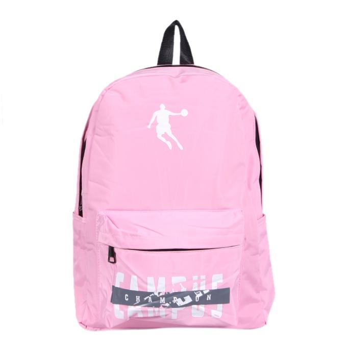 Pink Polyester Backpack For Women
