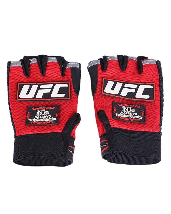 Motorcycle Half Finger Gloves - Black and Red