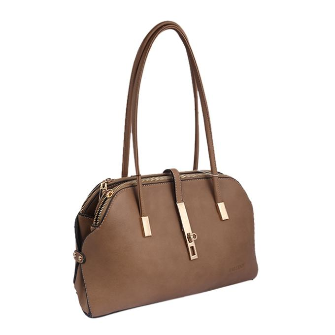 Artificial Leather Hand Bag For Women - Brown