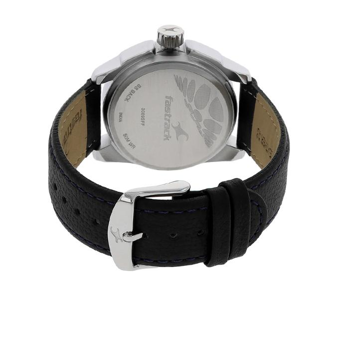 3089SL01 - Leather Analog Watch For Men - Black
