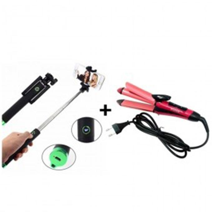 Combo of Hair Straightener and Selfie Stick - Multi Color