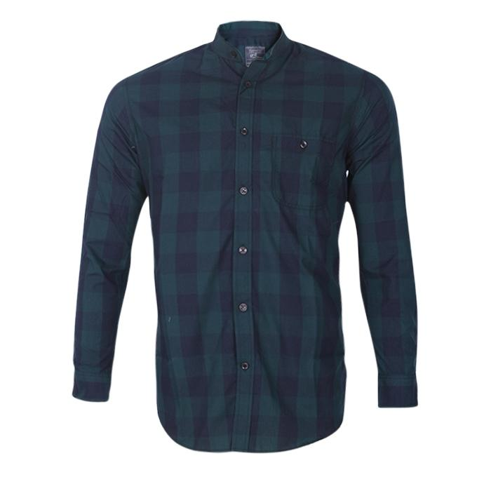 Black and Sea Green Cotton Casual Shirt for Men