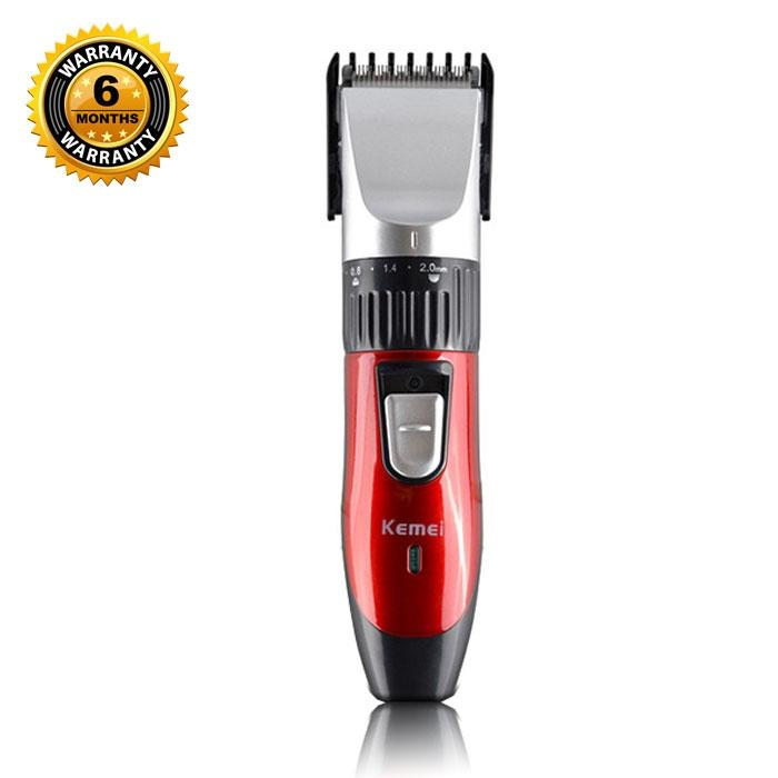 KM-730 Rechargeable Hair Clipper and Trimmer - Black and Red