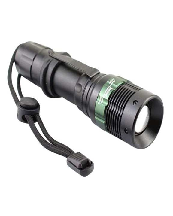 Rechargeable Zoom Torch Light - Black