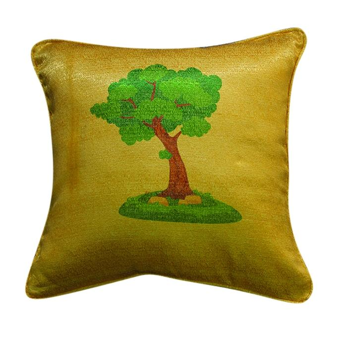 Big Plant Printed Cushion Cover - Golden
