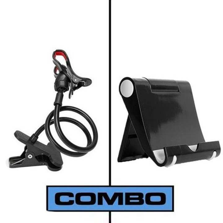 Combo of Multi Mobile Tablet Stand & 360 Rotate Long Stand - Black