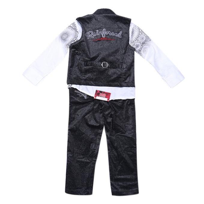 Black Cotton Casual Full Set For Boys
