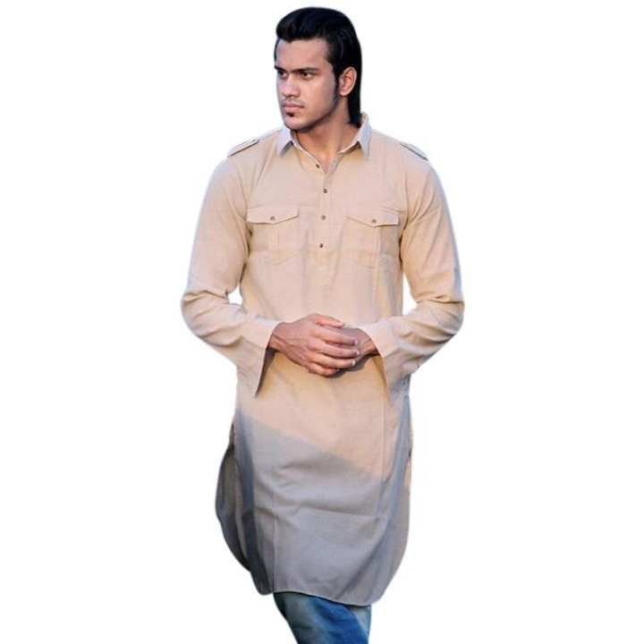 Faded Pink Cotton Casual Short Panjabi For Men