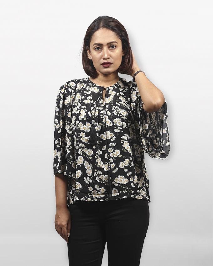 Multi-Color Synthetic Long Sleeve Zarzain Tops For Women