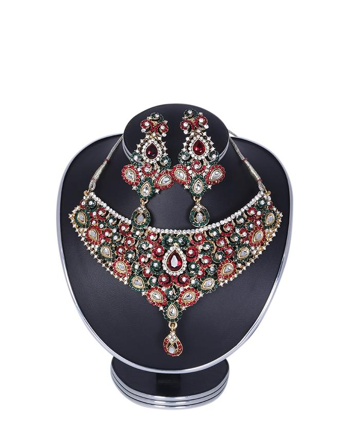 Diamond Cut Jewellery Set For Women - Multi Color