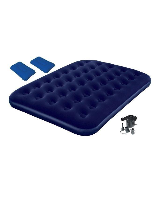 Comfort Quest Inflatable Double Size Flocked Camping Air Bed with Pump - Blue