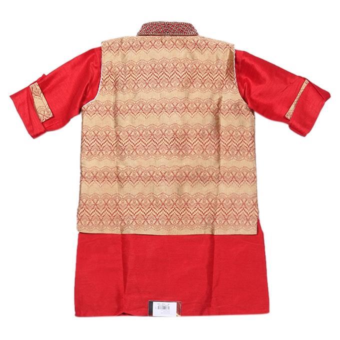 Red and Golden Katan Casual Kurta For Boys