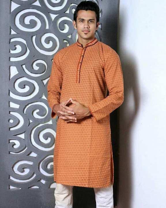 Cotton Casual Long Panjabi for Men - Sandy Brown