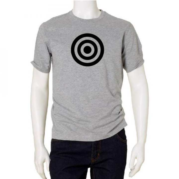 Gray Cotton Short Sleeve T-shirt with Target Print for Men