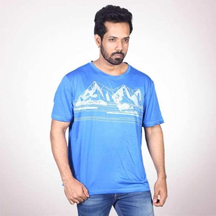Dodger Blue Cotton Short Sleeve Tshirt For Men