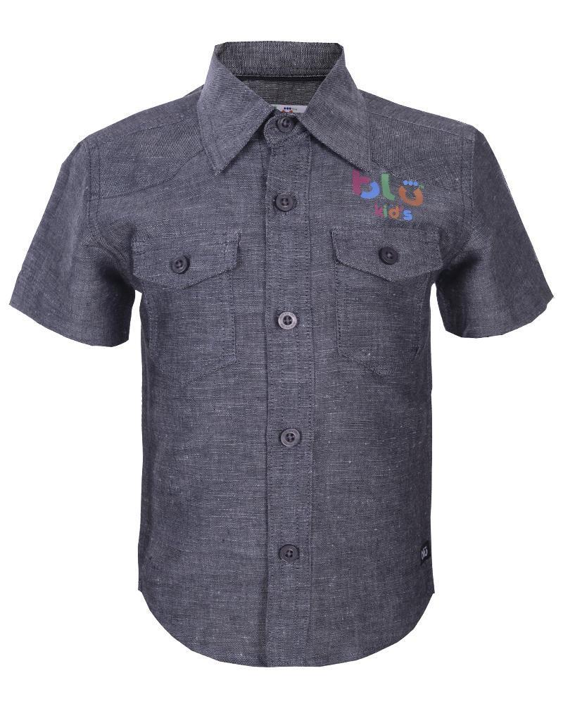 Boys Linen Short Sleeve Shirt - Gray