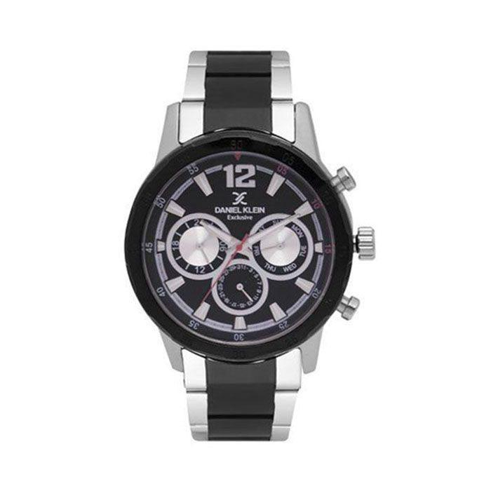 Silver and Black Stainless Steel Analog Wrist Watch for Men