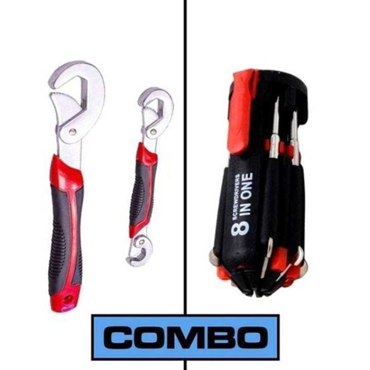 Combo Pack of Snap Grip and 8 In 1 Portable Screw Driver - Black and Red