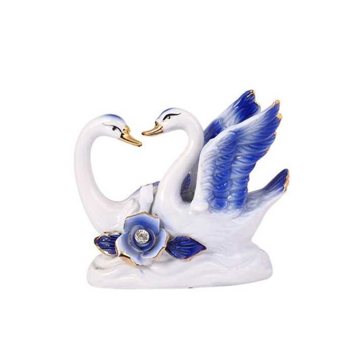 Duck Model Showpiece - White and Blue