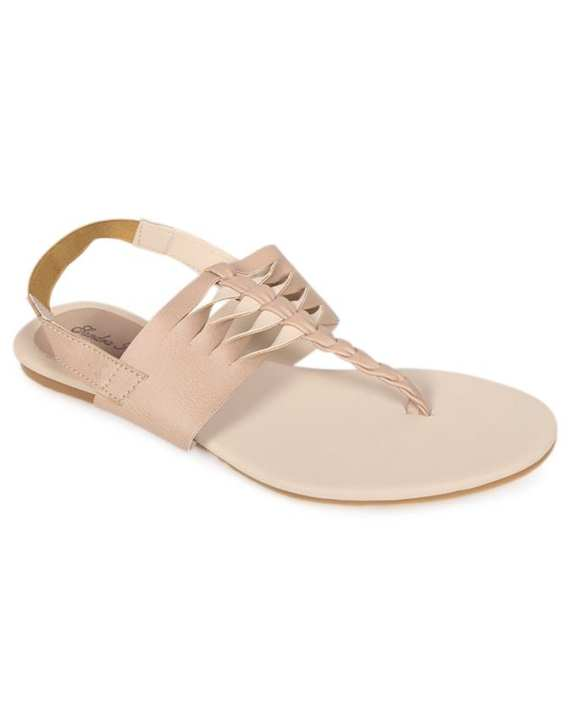Sandra Rosa Bige Smooth Leather Casual Sandal for Women