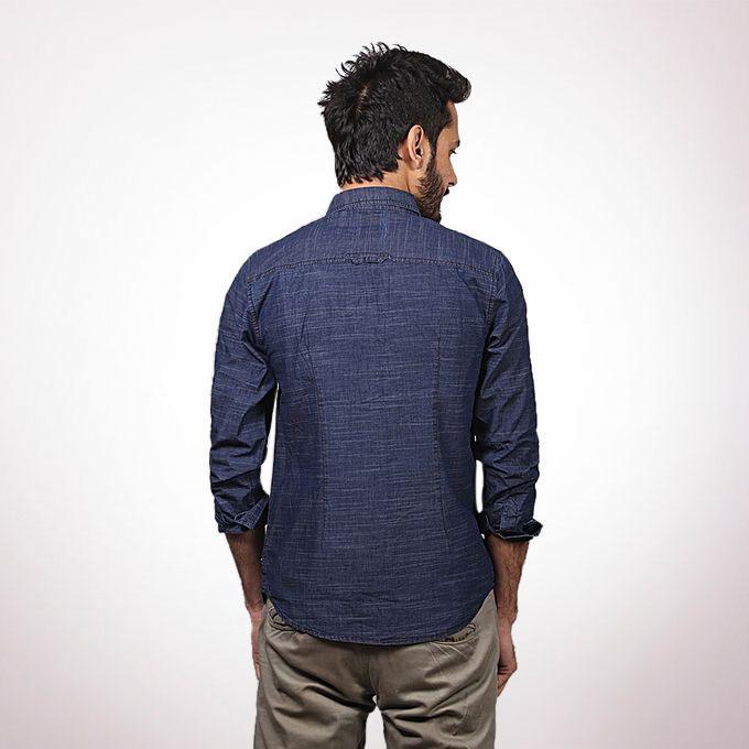 Navy Cotton Casual Long Sleeve Shirt For Men
