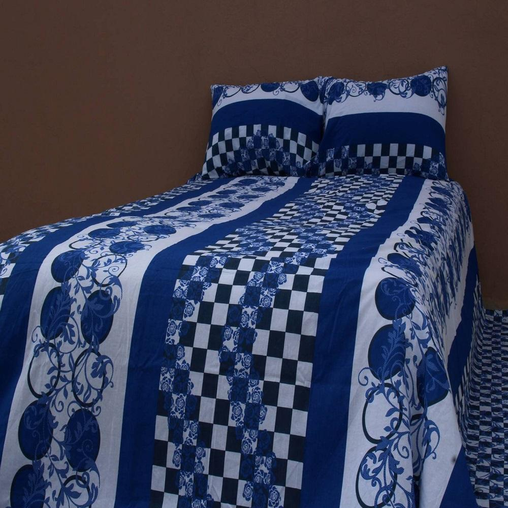King Size 100% Cotton Bed Sheet Set With Two Pillow Cover   8.5/7.5