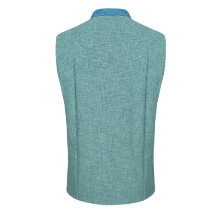 Teal Cotton Casual Ethnic Vest for Men