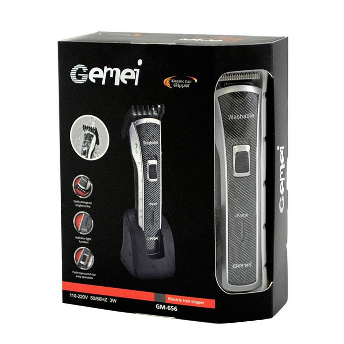 Gemei GM-656 Washable Rechargeable Trimmer-Black