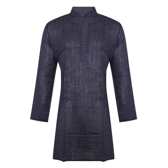 Midnight-Blue Cotton Panjabi For Men