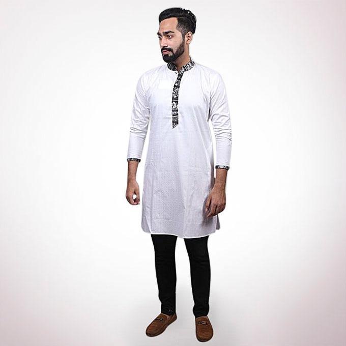 Off White Cotton Panjabi For Men