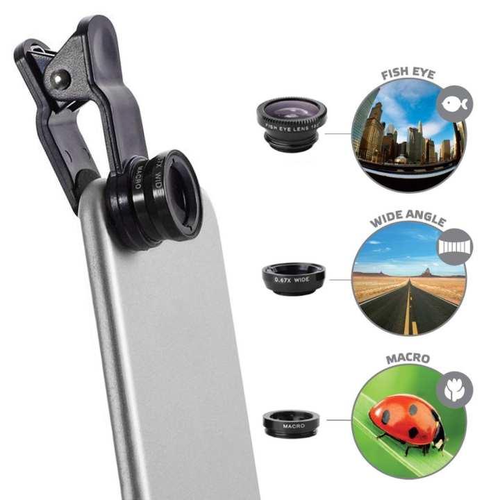 Cellet Universal 3-in-1 Clip-On Camera Lens Kit - Black