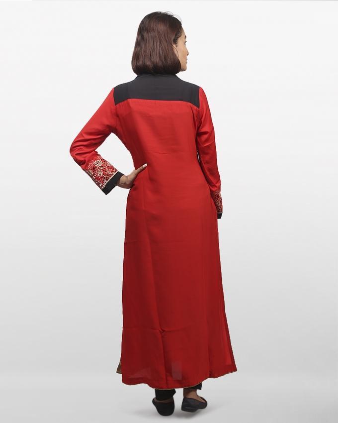 Red Synthetic Long Sleeve Zarzain Kurti For Women