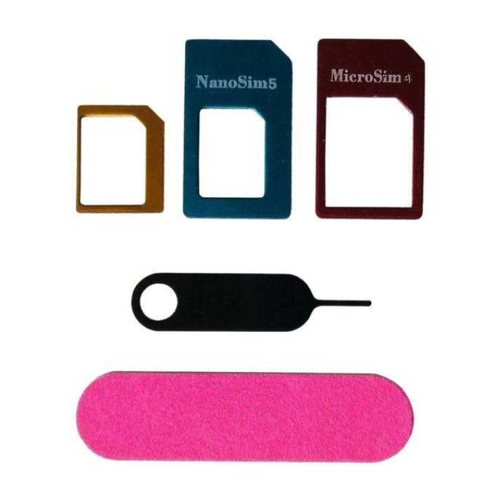 Aluminum Metal Nano and Micro SIM Adapter with Eject Pin - Multicolor