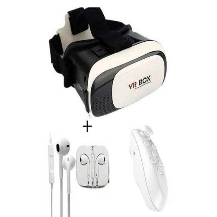 Pack of 3 - VR Box 2 3D With Bluetooth Joystick Remote and Headphone - White and Black