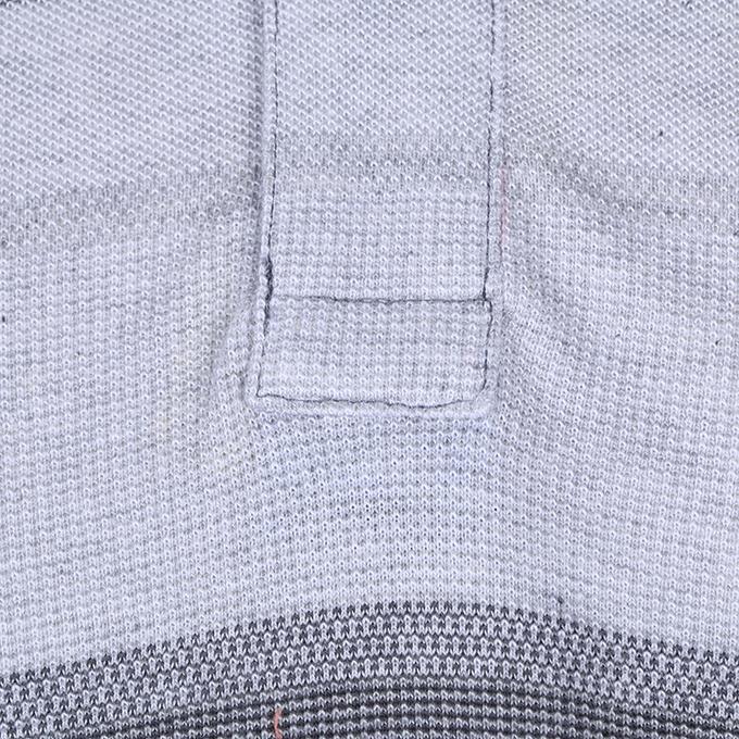 Gray Cotton Casual Short Sleeves Polo For Men