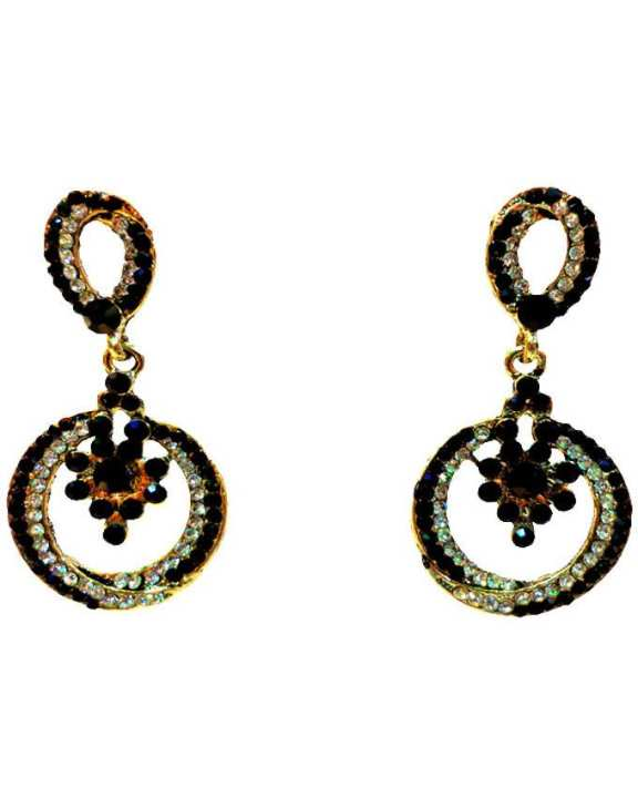 Golden Body Stone Earings - Black and White