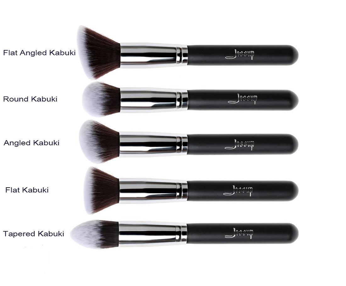 T063 5 PCs Kabuki Series Brush Set - Black and Silver