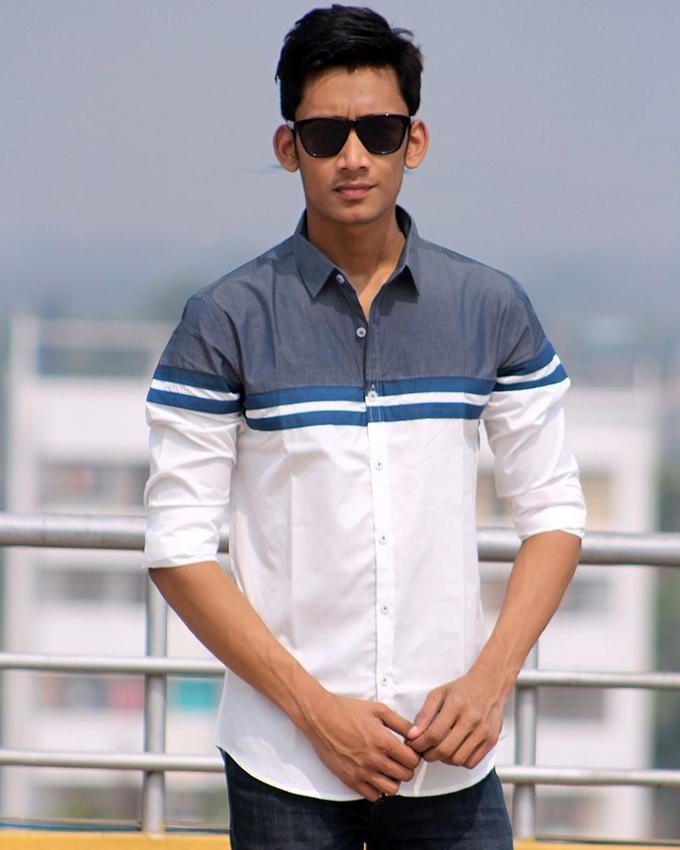 Cotton Full Sleeve Shirt For Men - White and Dark Steel Blue