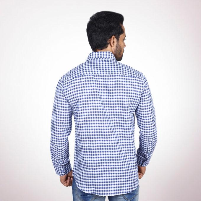 Blue and White Cotton Formal Shirt For Men