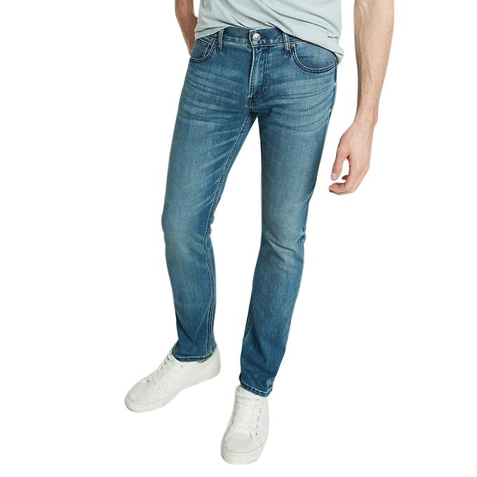 Sky Blue Denim Semi Narrow Jeans for Men