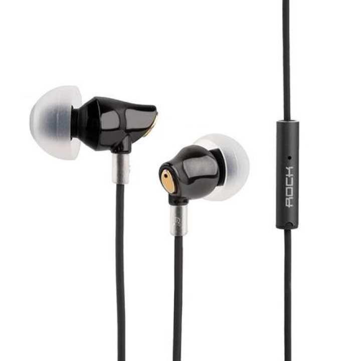 Rock Zircon Sports Stereo Earphone - Black