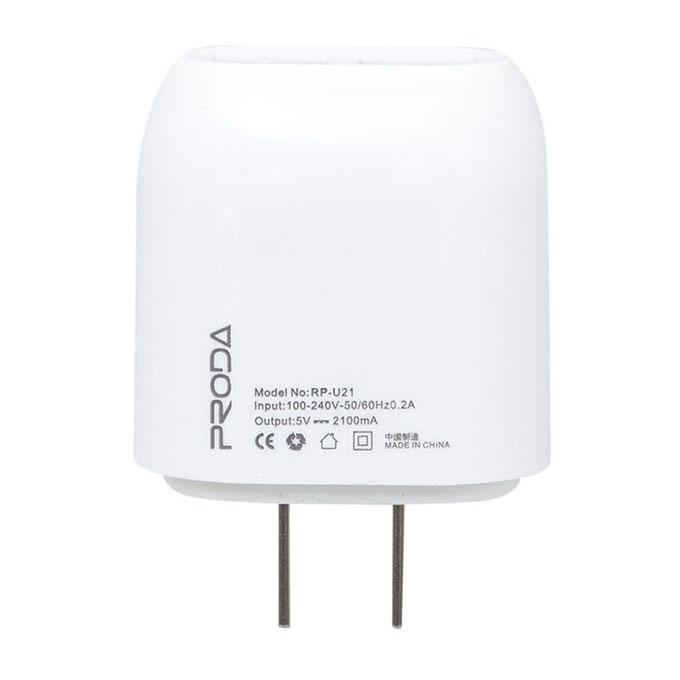 Proda RP-U21 - 2 Port USB Adapter - White
