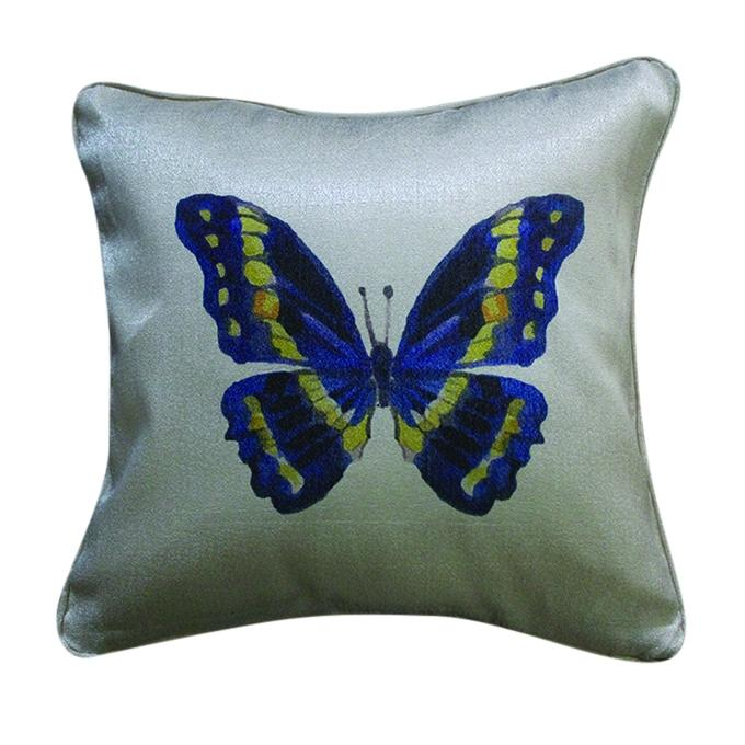 Butterfly Printed Cushion Cover - Light Gray