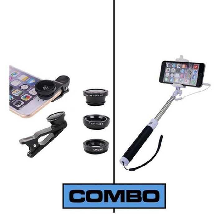 Combo of Selfie Stick + Mobile Camera Lens