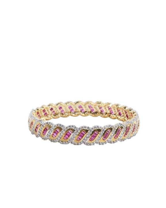 Golden Body Diamond Cut AD Stone bangles - White and Pink