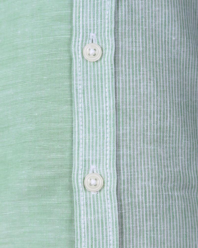 Boys Linen Long Sleeve Shirt - Green