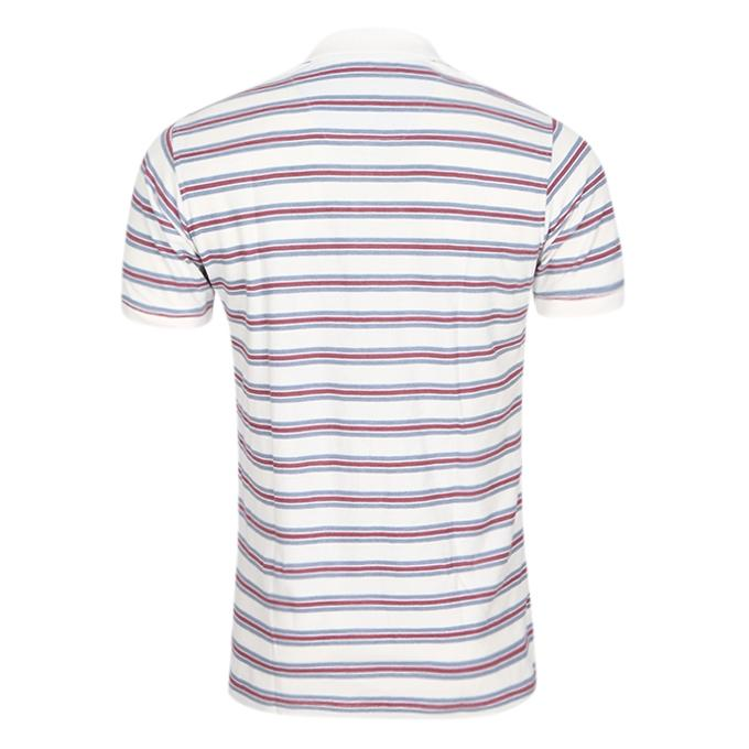 White and Purple Cotton Casual Polo For Men