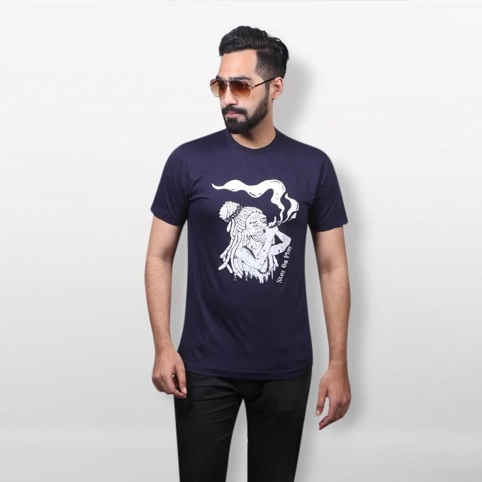 Navy Blue Cotton Lalon T-Shirt For Men