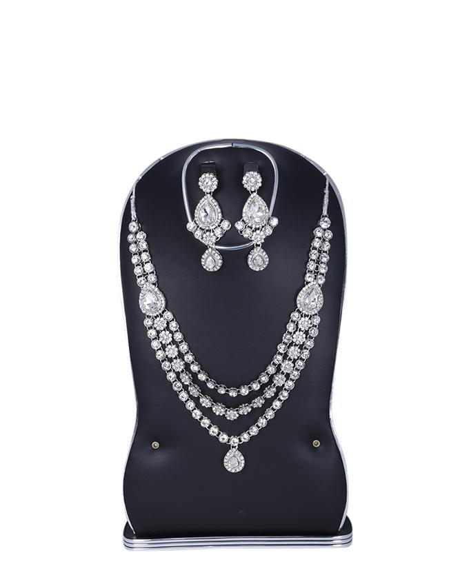 Diamond Cut Jewellery Set For Women - White